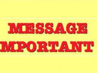 !!! — Message urgent — !!!